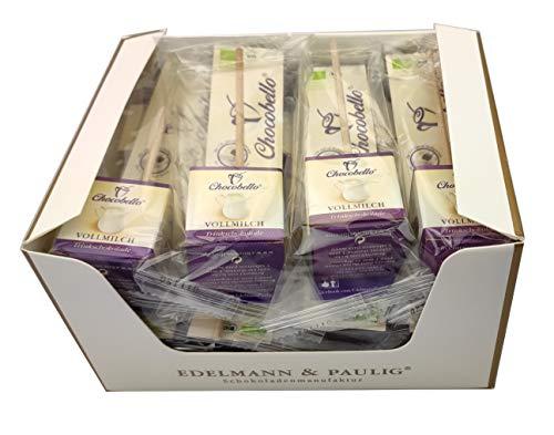 12 x CHOCOBELLO   VOLLMILCH   Trinkschokolade am Stiel   Bio   Box mit 12 Schokoladen-Würfel am Holzsitel   von EDELMANN & PAULIG