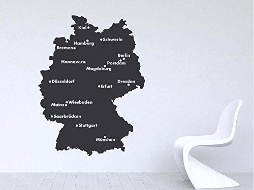 Wandtattoo Sticker für Wohnzimmer Büro Deutschland Karte Umriss Städte Hauptsta (146x110cm // 092 kupfer)
