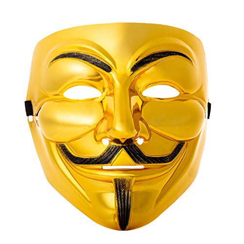 UltraByEasyPeasyStore Ultra Gold Guy Fawkes Erwachsene Maske Hacker Anonymous V Wie Vendetta Gesichtsmaske Halloween Kostüm mit Elastischem Riemen Guy (1) (Nacht Mann Kostüm Halloween)