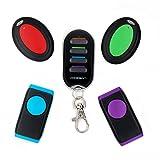 vodeson Tragbare elektronische Schlüsselanhänger Finder Wireless Wallet Locator (2 Schlüssel Ring Empfänger + 2 flach Empfänger mit LED-Blitz)