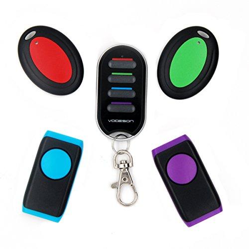 vodeson Tragbare elektronische Schlüsselanhänger Finder Wireless Wallet Locator (2 Schlüssel Ring Empfänger + 2 flach Empfänger mit LED-Blitz) Tragbare Elektronische Key Finder