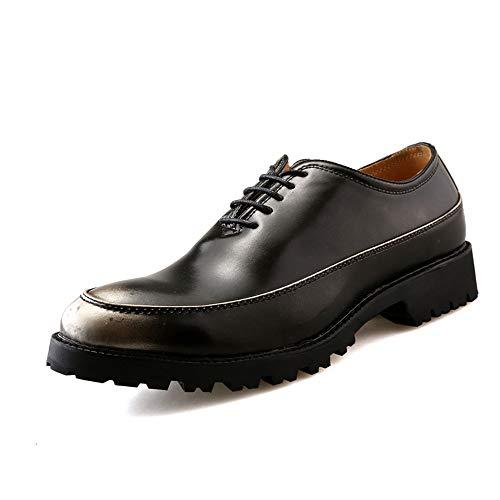 S.Y.M Herren Business Oxford Mode Retro Kontrast Farbe Laufsohle Lackleder Formelle Schuhe (Color : Silber, Größe : 38 EU)