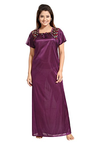 TUCUTE Women Satin Night Gown/Nightwear / Nighty (Wine) (Free Size) with Lace Work D.No.1536