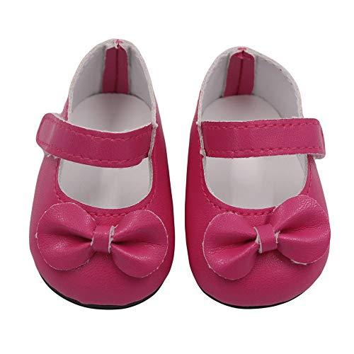 US 18-Zoll-Puppe Schuhe und Bunte Bogen Schuhe (ohne Puppen) Rose, Malloom Glitter Doll Shoes Bow Dress Schuhe für 18 Zoll Unsere Generation for American Girl Doll
