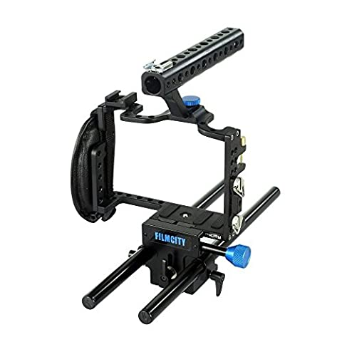 FILMCITY Professional Camera Cage for Panasonic Lumix GH3 / GH4 | Secure Support System with Comfortable Top Handle & Handgrip + 15mm Rod Support + Tripod Compatible (FC-G34-LCRS)