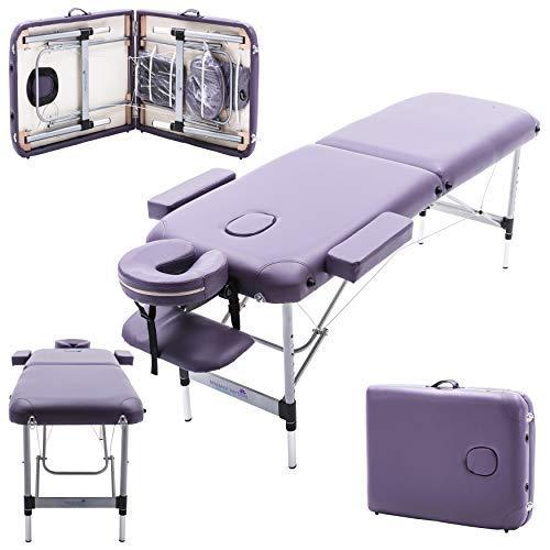 Massage Imperial® - tragbare Massageliege Knightsbridge - Violett Lila - Aluminium - 10 kg - 5 cm Schaumstoff - Gesichtskissen enthält 7 cm Schaumstoff (Massageliege Tragbare Lila)