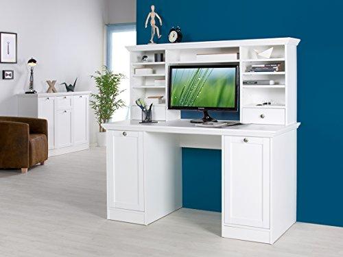 """Schreibtisch mit Aufsatz Bürotisch Computertisch Arbeitstisch weiß \""""Landsted II\"""""""