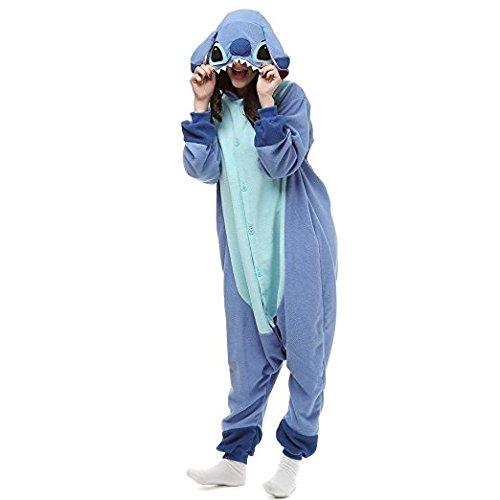 nuovo prodotto 1a8df bea56 Pigiama caldo a tuta intera invernale, in flanella, unisex, per adulti,  blu, Blue New Stitch, S (155-160 cm)