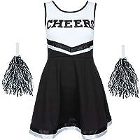 Femmes Déguisement de Pom-Pom Girl Uniforme avec Pompons Déguisement Halloween Américain High School Musical Sport Disponible en Tailles 6-16 et 6 Couleurs