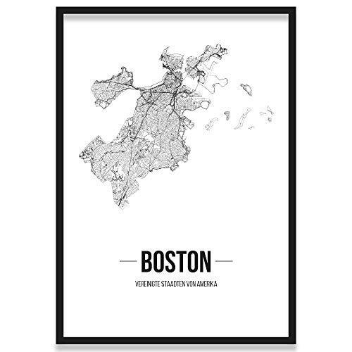 JUNIWORDS Stadtposter, Boston, Wähle eine Größe, 40 x 60 cm, Poster mit Rahmen, Schrift B, Weiß