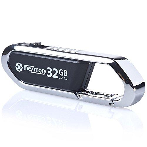 USB-Stick 32GB 2.0 Clip Karabiner ** Wasserdicht & Schnell ** Ideal für Schlüssel-Anhänger ** Extrem Robust aus Metall ** in Silber by mezmory