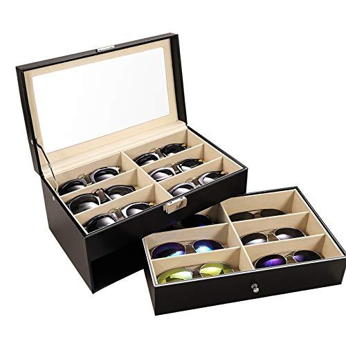 Meshela  Brillen Aufbewahrung Brillenbox Sonnenbrillen Organizer  Kasten  aus  PU  Leder mit 12 Fächern Display Box