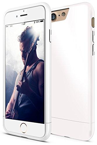 vau Snap Case Slider Hülle Glossy weiß - zweigeteiltes Hard-Case kompatibel zu Apple iPhone 7 / iPhone 8 (Harte Handyhülle innen weich gefüttert) Handy Snap Case