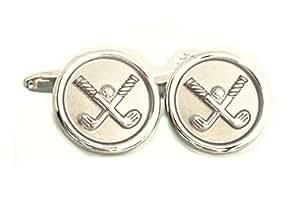 Golf Manschettenknöpfe Golfschläger rund silbern matt-glänzend inkl. Geschenkbox