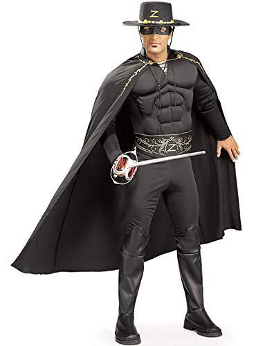Zorro Kostüm Deluxe - Deluxe Zorro-Kostüm - Erwachsene/Herren - Kostüm, Maske & Hut - Einheitsgröße