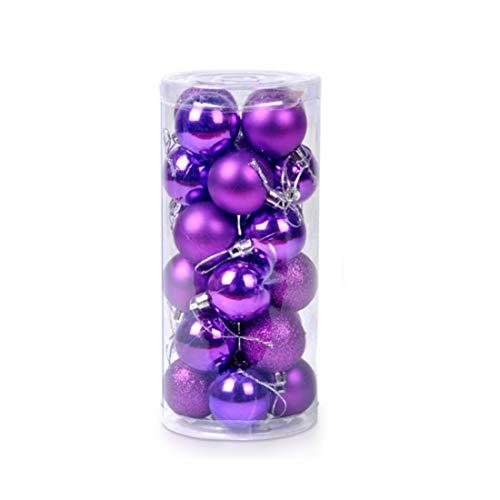Ericoy 4CM 24pcs Diametro lucido infrangibili palla ornamento di Natale, palline colorate di Natale, Bagattelle dell