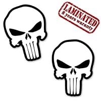 Skino 2 x Vinyl Decal Self-Adhesive Stickers The Punisher Skull White Emblem Accessories Car Van Bumper Window Door PC Tablet Laptop Auto Moto Motorcycle Helmet Bike Truck Racing Tuning B 28