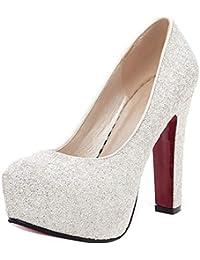 eedf77824654 YE Chunky High Heels Plateau Glitzer Pumps mit Pailletten Bequem  Blockabsatz Elegant Party Schuhe Damen Absatz