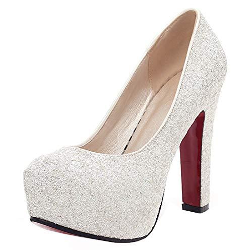 YE Chunky Rote Sohle High Heels Plateau 12cm Heels Glitzer Pumps mit Pailletten Bequem Blockabsatz Elegant Party Schuhe Damen Absatz