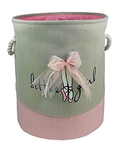 Cesto de ropa para niños rosa con lazo y asas