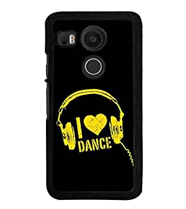Fuson Designer Back Case Cover for LG Nexus 5X :: LG Google Nexus 5X New (Love to Dance Dance Love Heart Head Phones ear Phones)