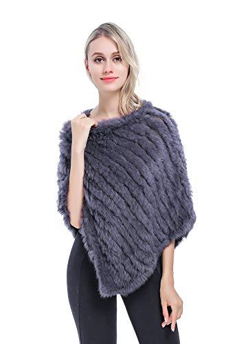 Meefur genuino pelliccia scialli caldo a maglia vera pelliccia di coniglio poncho accostare coperta mantellina inverno grey