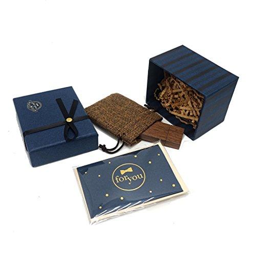 LUCKCRAZY Walnuss USB-Sticks 16GB Geschenk Set Holz USB Stick Geschenke mit niedlichen Box für Freund Kinder Liebhaber Weihnachtsgeschenk (Farben Niedlichen Hochzeit)