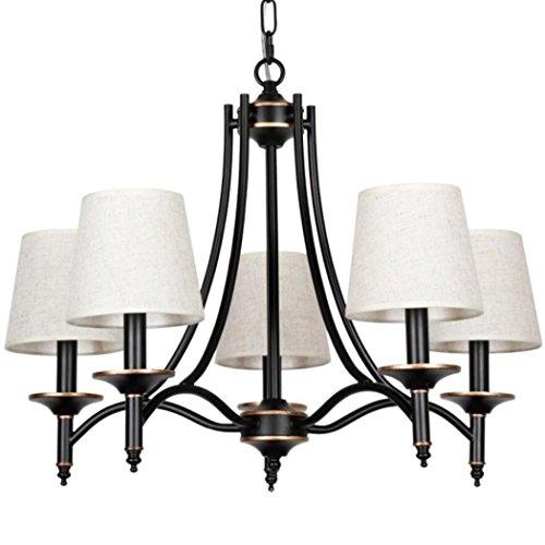 Lampenschirm, Eisen Farbe Leuchten Wohnzimmer, Schlafzimmer 5-Licht-Schwarz-Gold-Seiten Kronleuchter (5 Licht, Deckenventilator)
