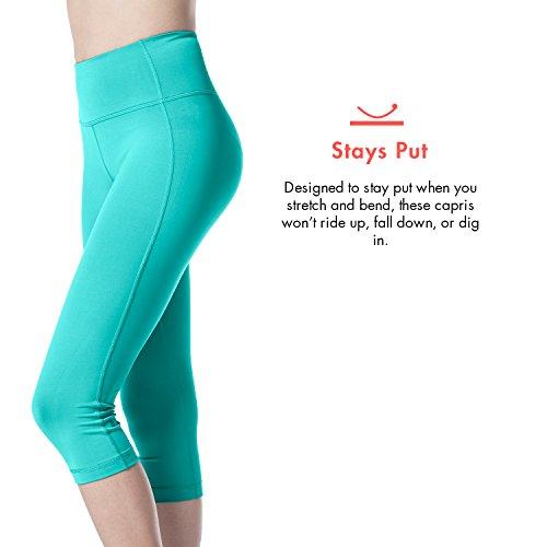 Lapasa Damen 3/4 Sport Leggings �?blickdicht, dehnbar und luftig, 3/4 Yoga Sporthose, Damen kurz Training Tights, L002 Türkis