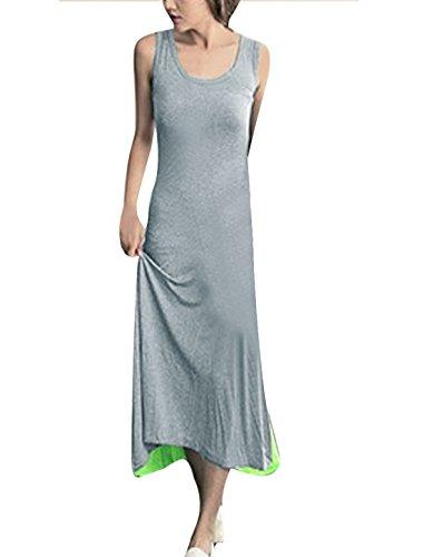 Femme Col Rond Sans Manche Modèle Patchwork Bicolore Robe Décontractée Gris,Vert citron