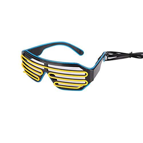 (Leezo Neon-EL-Draht-Brille mit LED-Licht, lustige tolle Coole Brille für Weihnachten, Halloween, Wilde Party, Tanzball, verrückte Partys L Blue Frame + Yellow)