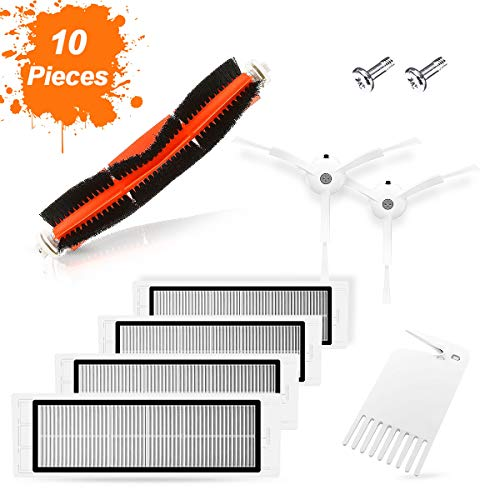SAFETYON Genuine Accessories My Robot Vacuum (10 Pieces) Xiaomi Replacement Vacuum Roborock s50 1/2, 1 Main brush +2 Side brush +1 Cleaning Assistant +4 HEPA filters +2 Screw