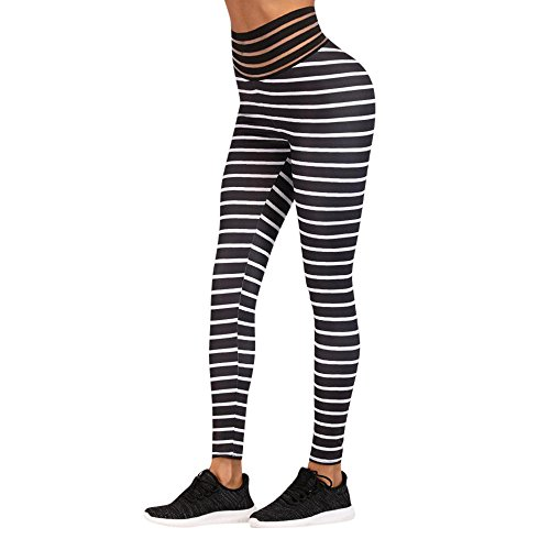 In liquidazione grande varietà bene fuori x Styledresser Leggings Da Allenamento a Righe Donna Fitness Sports Gym  Running Yoga Athletic Pants Pantaloni Yoga Sportivi Strisce Mid Waist  Running ...