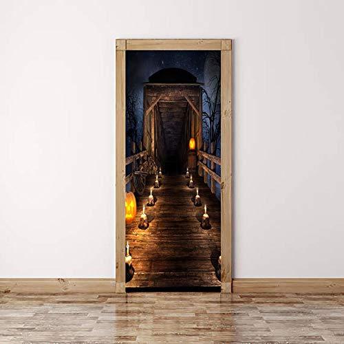 BXZGDJY 3D-Effekt Bücherregal Stil Wandbild Wrap Wandaufkleber Für Home Office Schlafzimmer Dekoration Halloween 90X200Cm