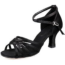 YFF Professionelle closed Toe Modern Dance Schuhe Leder Ballroom Tango Tanzschuhe Salsa Party Latein tanzen Schuhe Mädchen Frauen, 63 mm 30603,7.5 LEIT