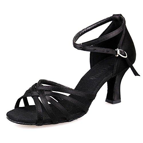 YFF Latino scarpe da ballo professionale satinata sala da ballo Tango e scarpe con tacco sottile di salsa messicana 7cm Black