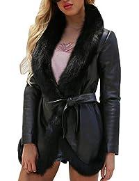 ZEZKT Blousons Femme - Manteau Long Gilets Collier de Fourrure Casual  Outwear Sport Cardigan avec Ceinture Veste… 3e9253d0ff3
