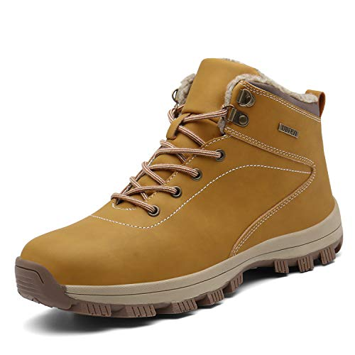 UBFEN Hombre Botas de Nieve Botas de Senderismo Invierno Impermeable Calzado Zapatos de Ocio al Aire Libre y Deportes Zapatillas Antideslizantes cálido Confortables 42 EU A/Amarillo