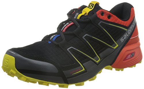 Salomon L38314200, Zapatillas de Trail Running para Hombre, Negro (Black / Tomato Red / Corona Yellow), 43 1/3 EU