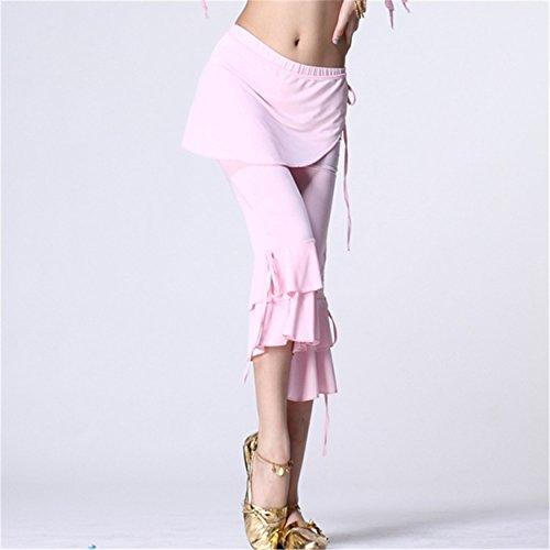 Damens Bauchtanz Hip Scarf Pant Tanzenwear Tanzen Clothes Cropped Trousers Side Slit Light Pink