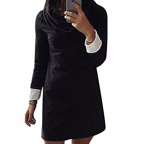 Fashion Slim col haut Retour Stitching Robes Femmes Solid Color Cotton Dress Noir