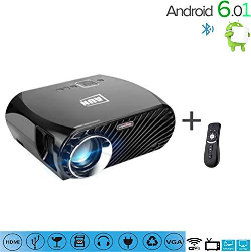 C-TK Tragbarer HD 1080pLED-Projektor, 3200 Lumen niedrige Geräusch-Funke WiFi-Anschluss-Sync Telefon Android 6.0 Bluetooth 4.0, kann auf das Internet zugreifen, Spiele Spielen, 3D-Filme -