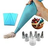 EQLEF® Icing Piping silicone Crema tasca da pasticcere e 6 x acciaio inox ugello set DIY torta fai da te strumento di decorazione