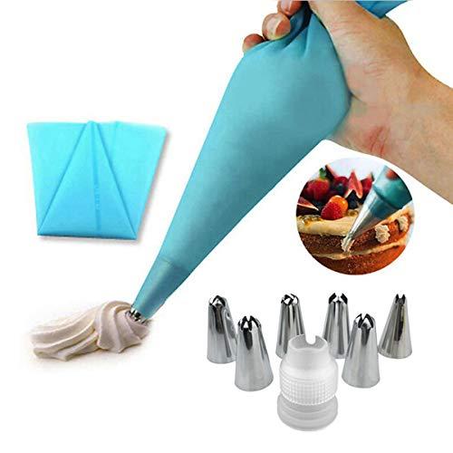EQLEF Icing Piping silicone Crema tasca da pasticcere e 6 x acciaio inox ugello set DIY torta fai da te strumento di decorazione