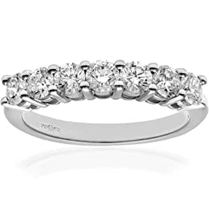 Naava 18 ct White Gold Eternity Ring, IJ/I Certified Diamonds, Round Brilliant, 1.00ct, White Gold, J