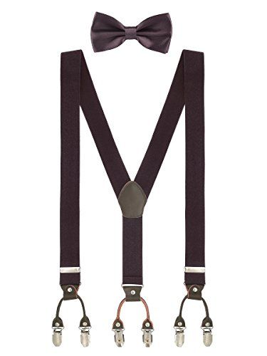 Herren Gentleman Klassisch 12*6,5cm Fliegen Schleife & 110*3,5cm Y-Form Hosenträger 2 in 1 Set Casual Business - Einfarbig Dunkelbraun