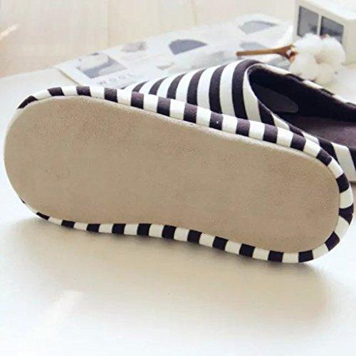 Fortuning's JDS Unisex adulti coppia accogliente cotone Casa Calzature stile semplice Stripe confortevole Flatform pantofole Caffè