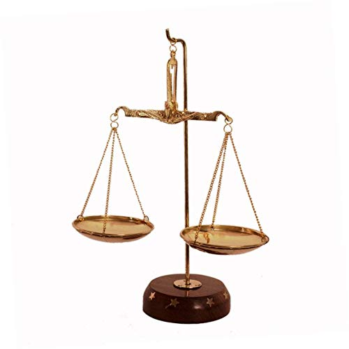 CRAFTHUT Brass Weighing Scale Balance Tarazu Weights Measure Showpiece 'Law/Justicse for All' (Product Dimensions: LxBxH-6x2.5x8 inches)