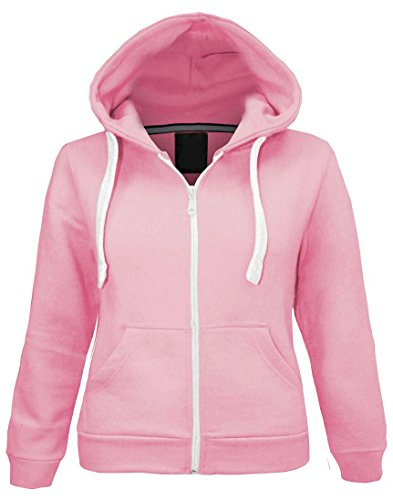 Kids Girls Boys Plain Fleece Hooded Hoodie Sweatshirt Zip Up Style Zipper Size 5 6 7 8 9 10 11 12 13 Years