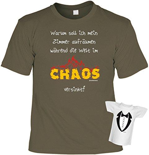 Teenager Fun T-Shirt Zimmer aufräumen im Chaos Shirt bedruckt Geschenk Set mit Mini Flaschenshirt Khaki